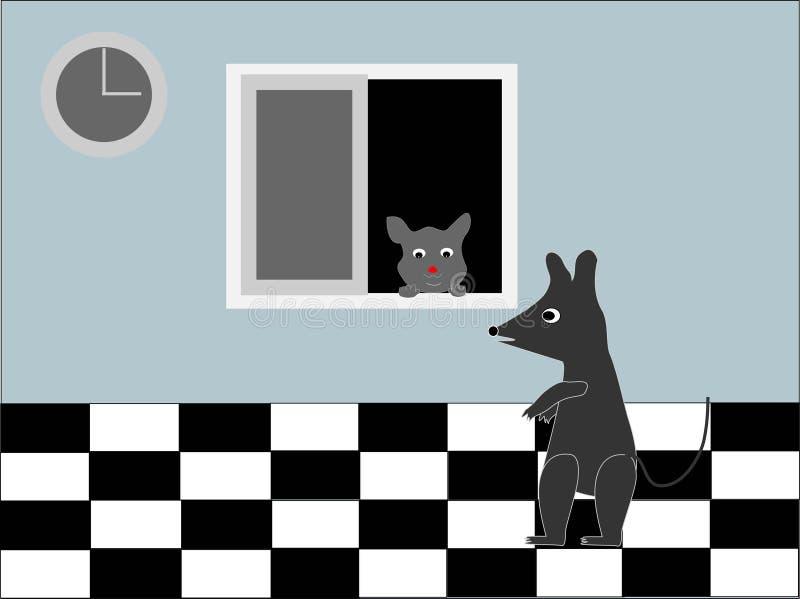 Arte del fumetto del topo e del gatto immagine stock libera da diritti