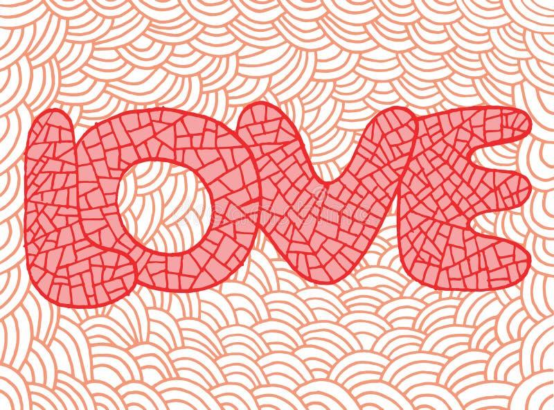 Arte del garabato con palabra del amor Ilustration rosado dibujado mano stock de ilustración