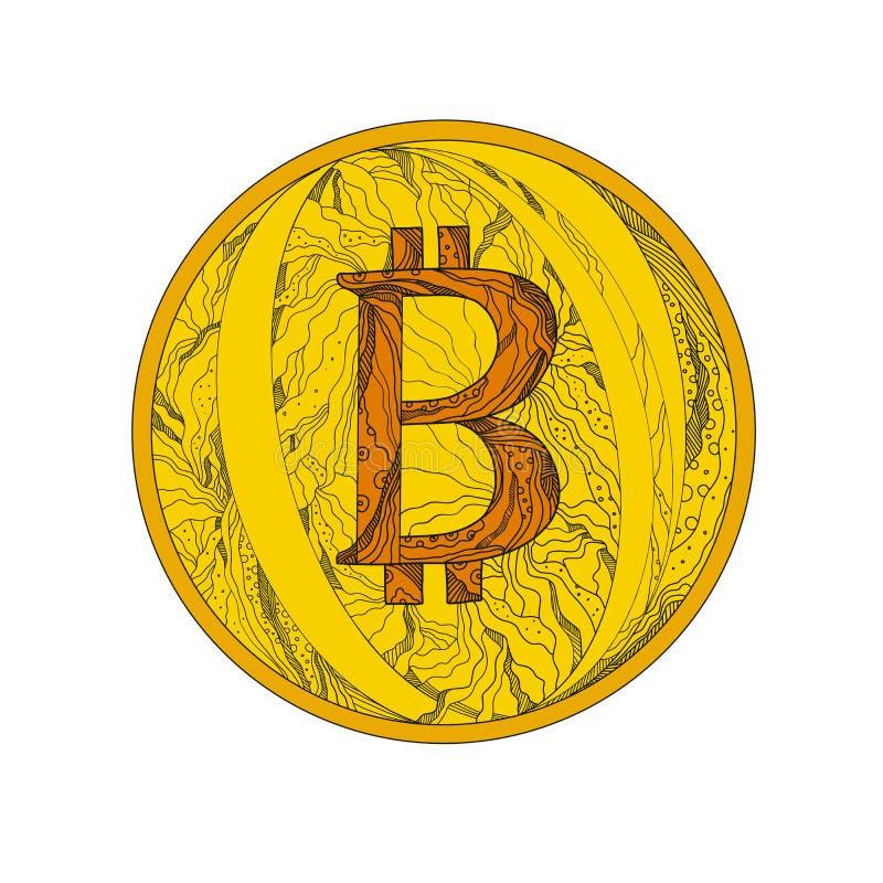 Arte del garabato de Bitcoin stock de ilustración