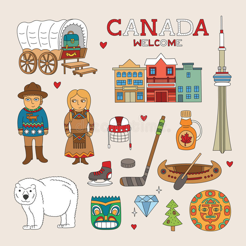 Arte del garabato de Canadá del vector para el viaje y el turismo stock de ilustración