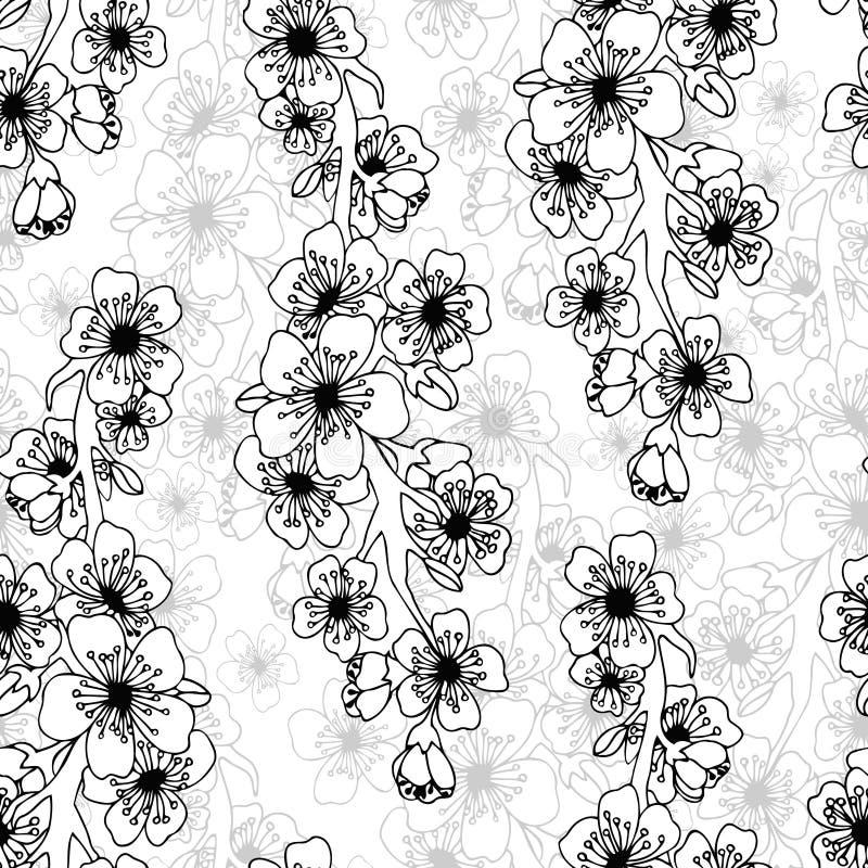 Arte del garabato Modelo inconsútil abstracto con las flores stock de ilustración