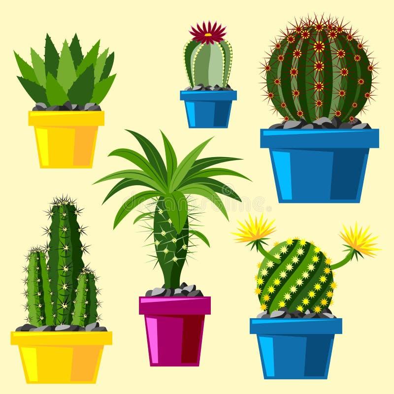 Arte del giardino del succulente messicano grafico di stile del cactus della natura del deserto del fiore di verde del disegno pi royalty illustrazione gratis