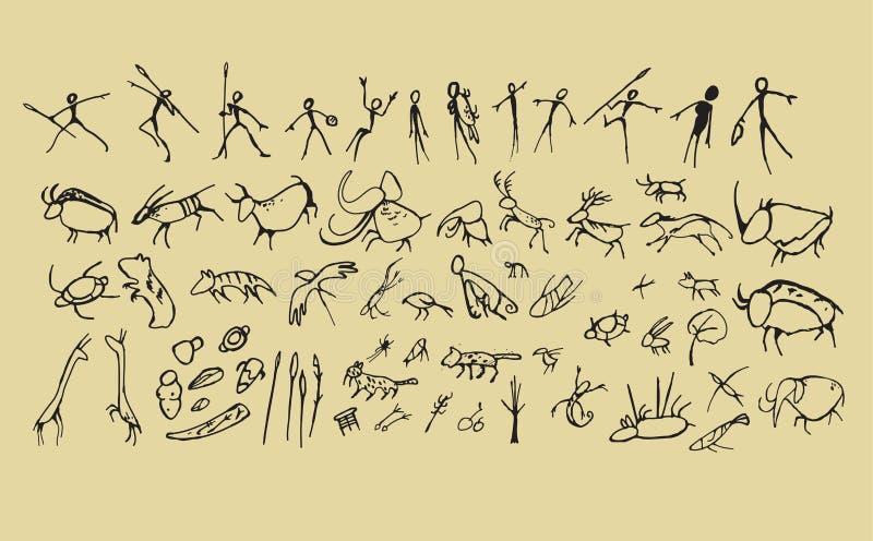 Arte del hombre de las cavernas stock de ilustración
