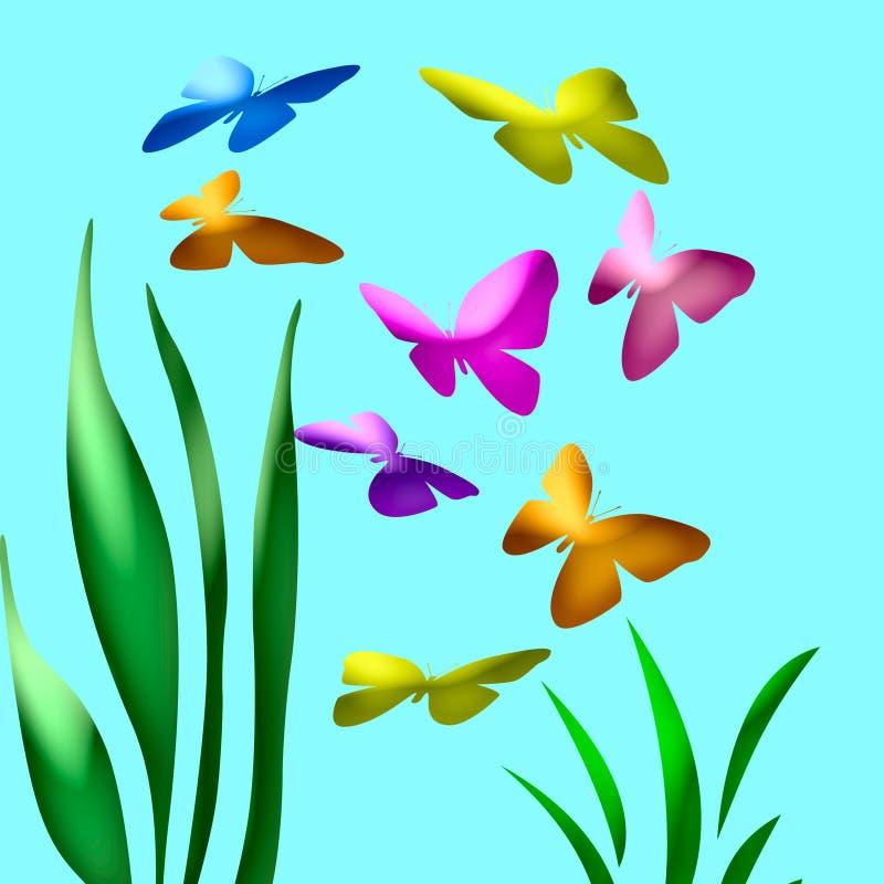 Arte del jardín de la mariposa libre illustration