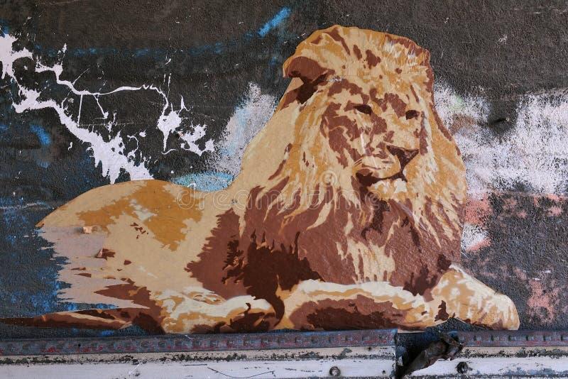 Arte del manifesto della via di un leone fotografia stock libera da diritti