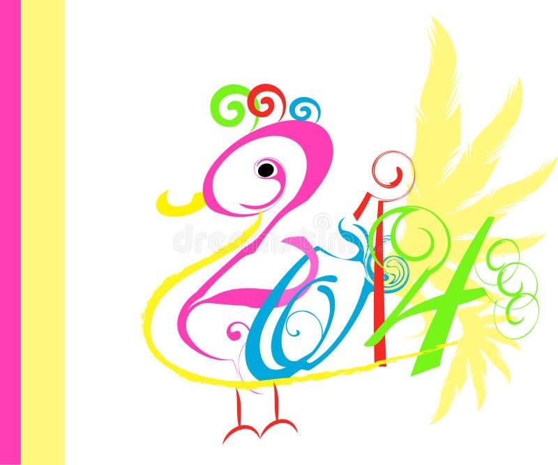 arte del pájaro del Año Nuevo 2014 fotos de archivo libres de regalías