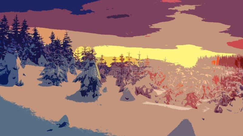 Arte del paisaje del invierno foto de archivo