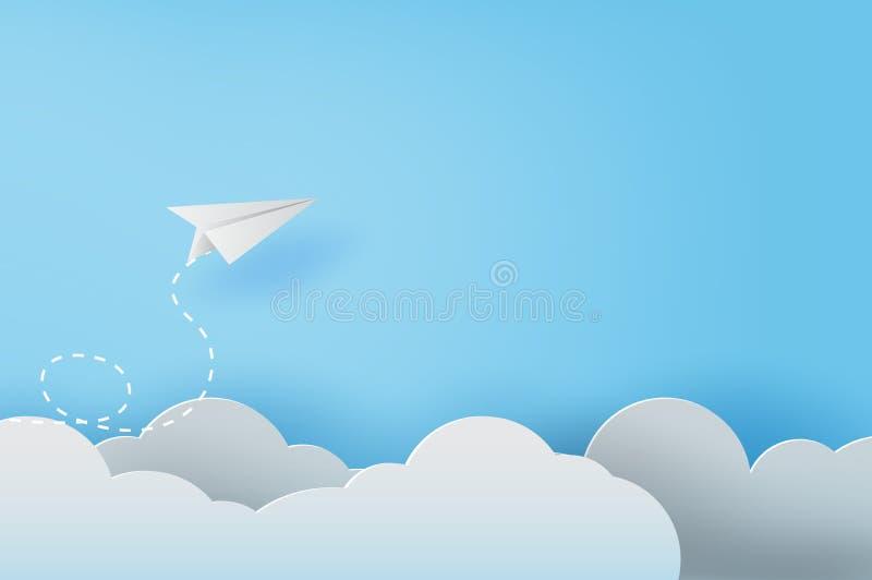 arte del papel 3D y arte de los aeroplanos del Libro Blanco que vuelan en el cielo azul y las nubes, éxito empresarial creativo d libre illustration