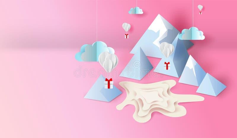 arte del papel 3d y diseño del arte de la charca de la escena del Mountain View, balones de aire con el flotador del regalo para  libre illustration