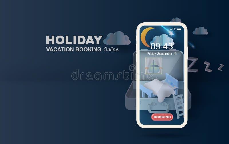 arte del papel 3D y arte del dormitorio en concepto del móvil de la maleta su fondo del espacio del texto Ejemplo del sofá del di libre illustration