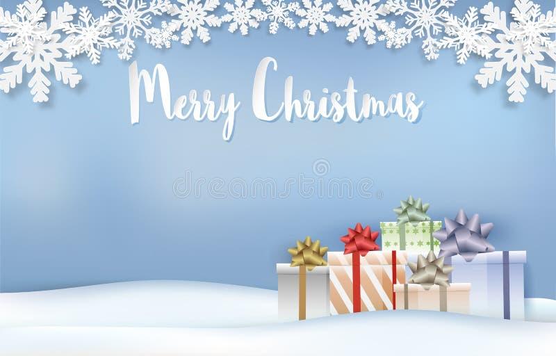 Arte del papel de la estación de la Navidad de las cajas del copo de nieve y de regalo, estilo cortado de papel stock de ilustración