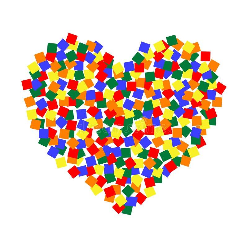 Arte del pixel del color del corazón LGBT, forma multicolora del corazón del sticket de los cuadrados de la comunidad del vector  ilustración del vector