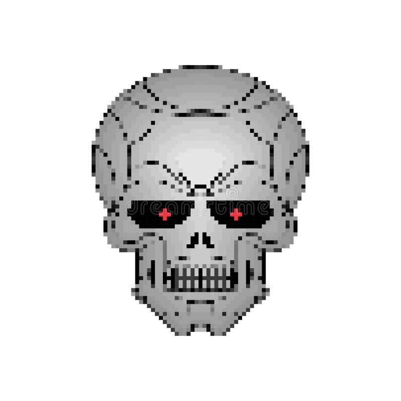 Arte del pixel del cráneo del hierro Pedazo del esqueleto 8 de la cabeza del metal ilustración del vector