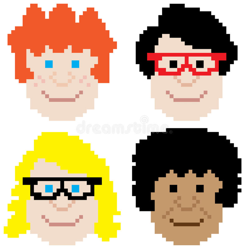 Arte del pixel de la cara del muchacho libre illustration