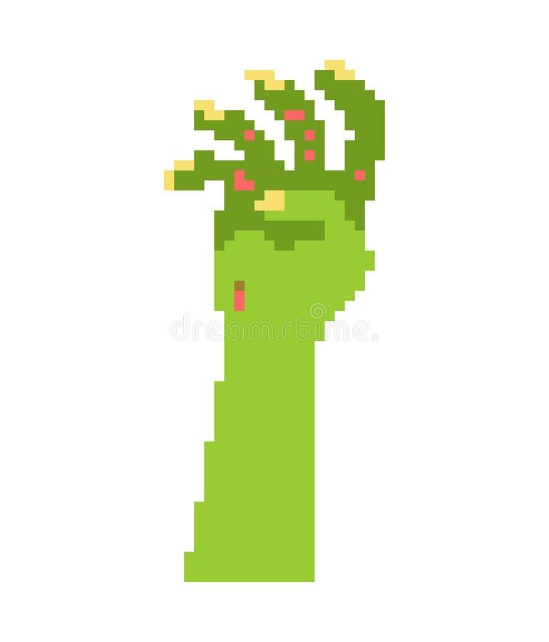 Arte del pixel de la mano del zombi Hombre muerto del pedazo del sepulcro 8 Halloween Vect ilustración del vector