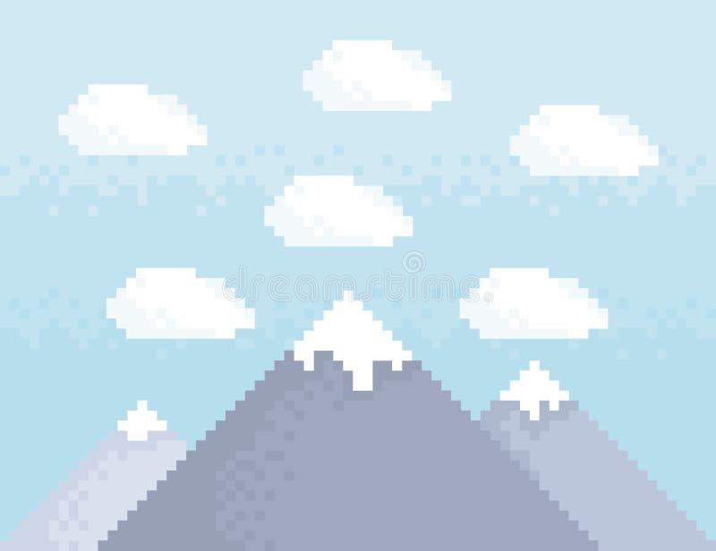 Arte del pixel de la montaña ilustración del vector