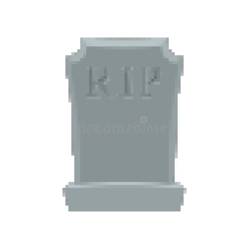 Arte del pixel de la tumba Pedazo del sepulcro 8 Lápida mortuaria Halloween Cementerio del RASGÓN ilustración del vector