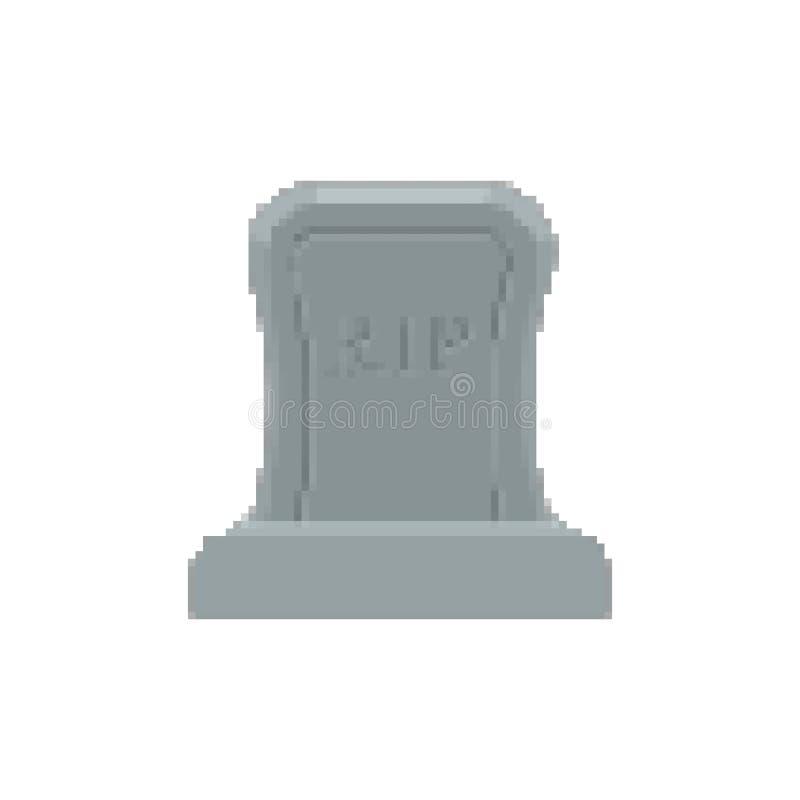 Arte del pixel de la tumba Pedazo del sepulcro 8 Lápida mortuaria Halloween Cementerio del RASGÓN libre illustration