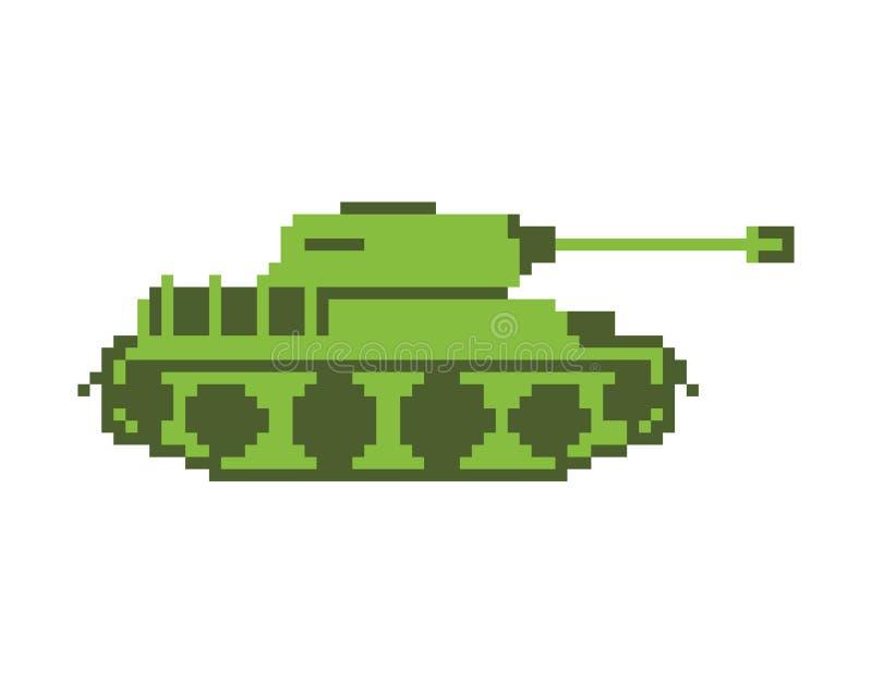 Arte del pixel del tanque la máquina militar es pixelatedl Transporte del combate ilustración del vector