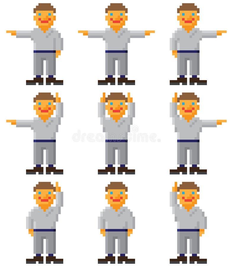 Arte del pixel del vector - conjunto de gente gesticulating stock de ilustración