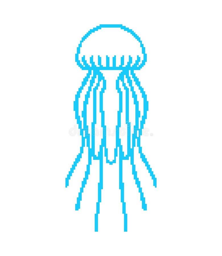 Arte del pixel delle meduse Bit dell'animale marino 8 illust di vettore della fauna selvatica illustrazione vettoriale