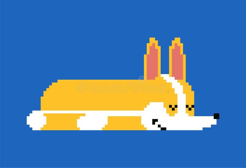 Arte del pixel di sonno del Corgi piccolo bit addormentato del fumetto 8 del cane illustrazione sveglia di vettore dell'animale d illustrazione vettoriale
