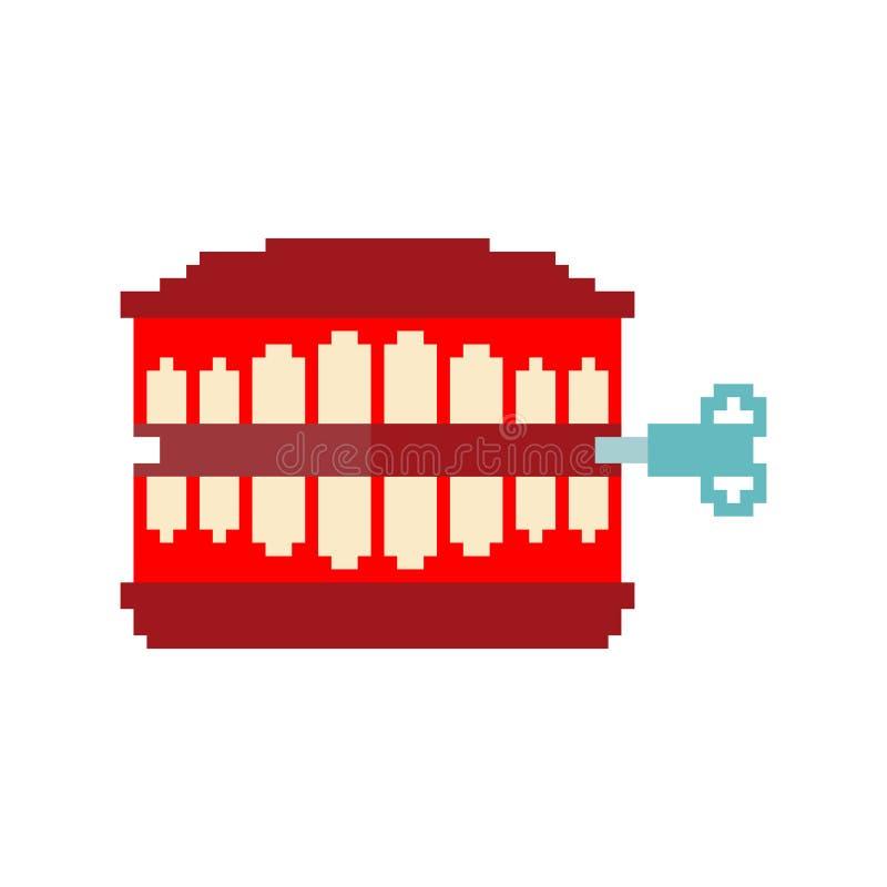 Arte del pixel del giocattolo dei denti di schiamazzo Simbolo di April Fools Day una mandibola t di 8 bit royalty illustrazione gratis