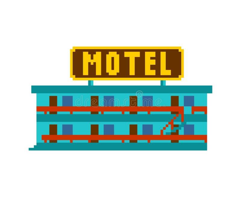 Arte del pixel del motel Pequeño ejemplo del vector del pedazo del hotel 8 ilustración del vector