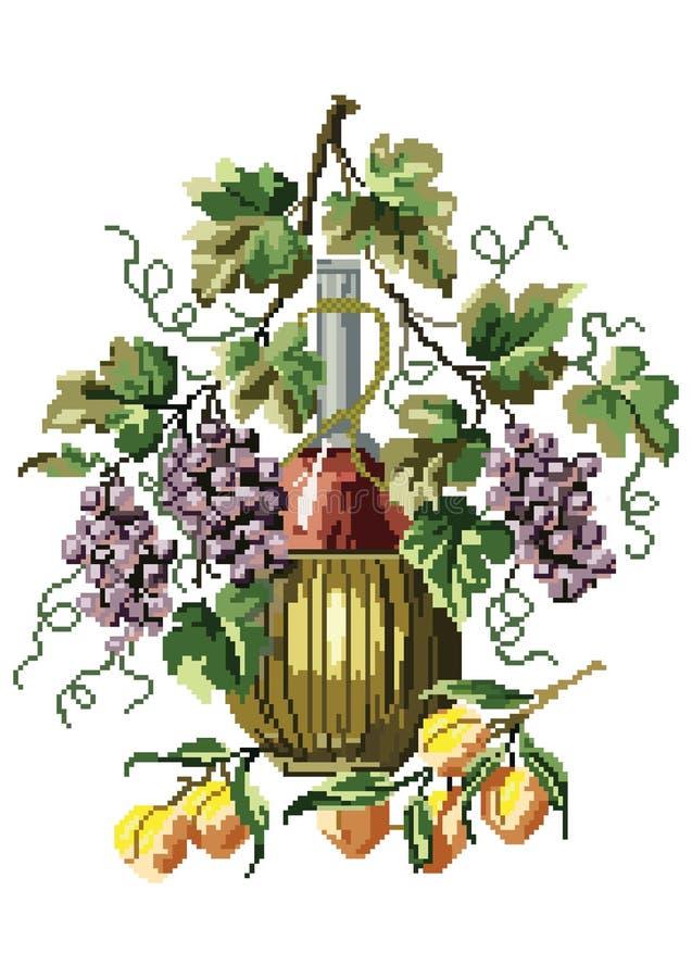 Arte del pixel del vector Ejemplo del vector con las uvas, los melocotones y el vino libre illustration