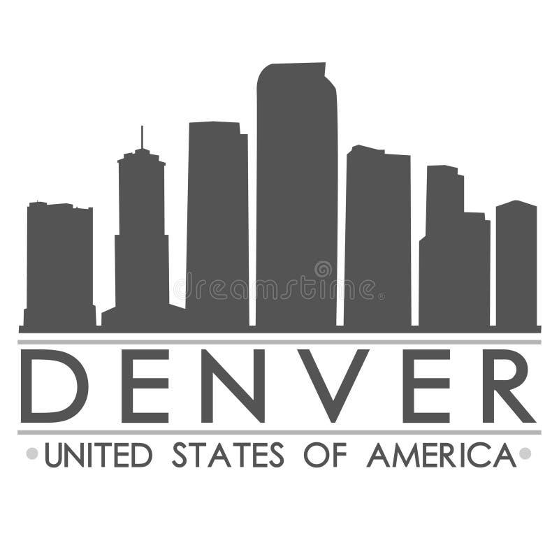 Arte del vector de Denver Skyline Silhouette Design City ilustración del vector