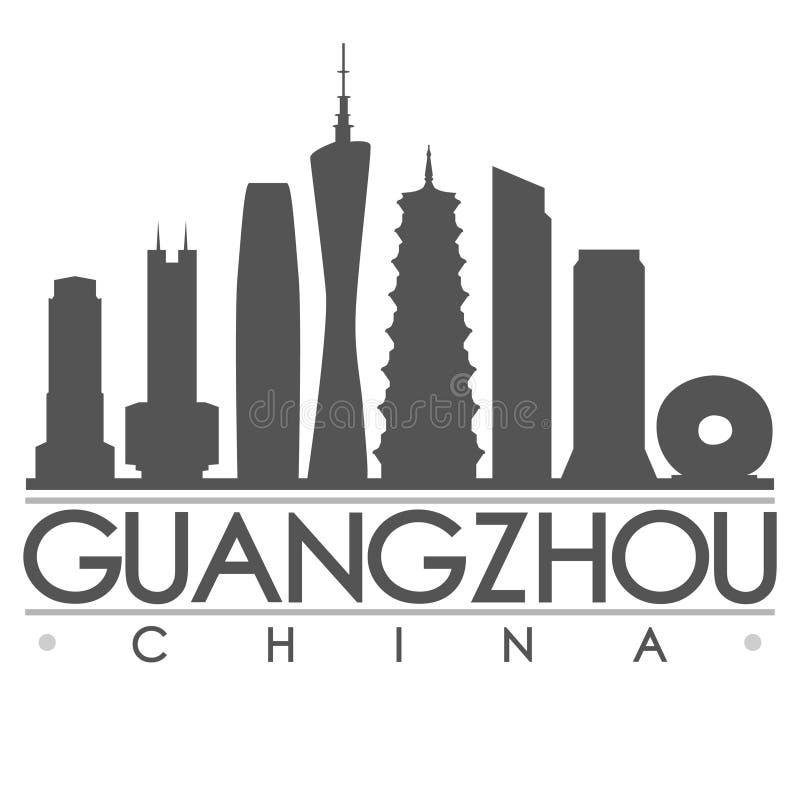 Arte del vector de la ciudad del diseño de la silueta de Guangzhou stock de ilustración