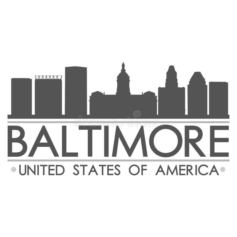 Arte del vector de la ciudad del diseño de la silueta del horizonte de Baltimore ilustración del vector