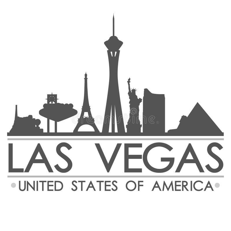 Arte del vector de la ciudad del diseño de la silueta del horizonte de Las Vegas foto de archivo