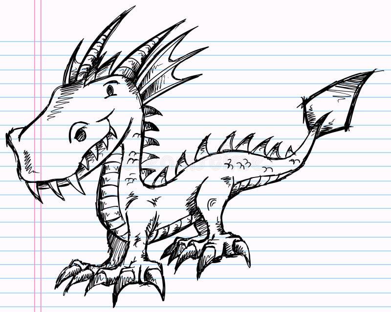 Arte del vector del dragón del bosquejo del Doodle del cuaderno ilustración del vector