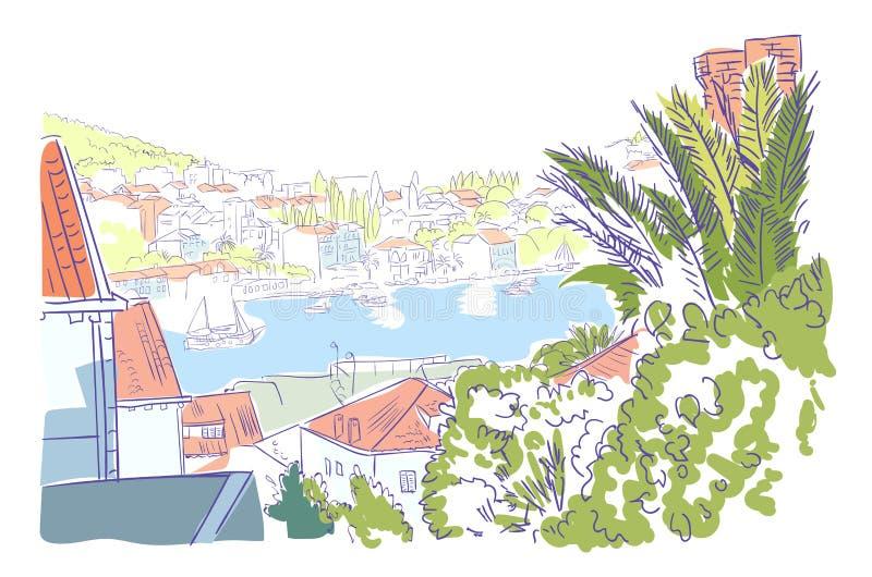 Arte dell'acquerello di Ragusa di schizzo di panorama della Croazia royalty illustrazione gratis
