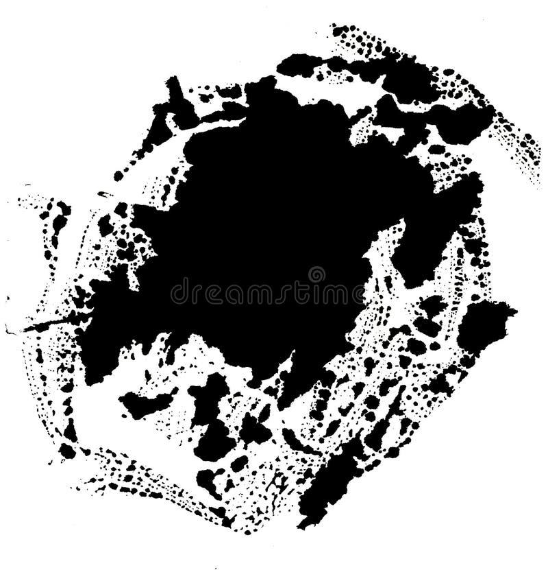 Arte dell'acquerello Macchia nera astratta su fondo bianco nello stile dell'inchiostro goccia dell'inchiostro Colore grigio sottr illustrazione vettoriale