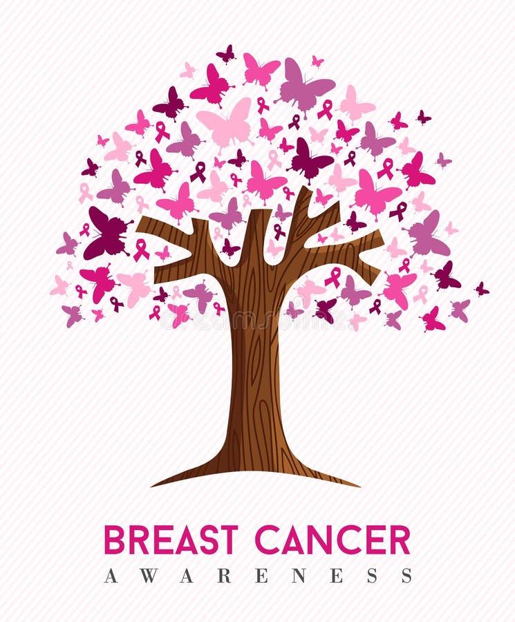Arte dell'albero della farfalla di rosa di consapevolezza del cancro al seno illustrazione vettoriale
