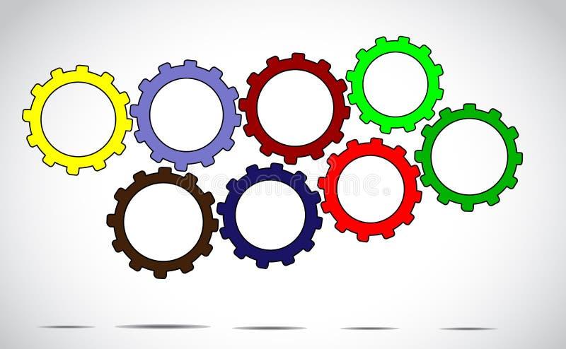 Arte dell'illustrazione di progettazione di massima di successo o del lavoro di gruppo - ruote o ingranaggio variopinte differenti royalty illustrazione gratis