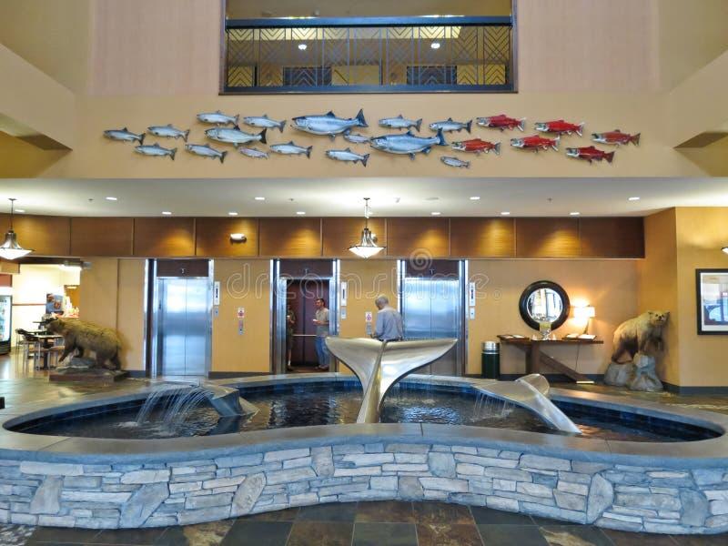 Arte dell'ingresso dell'Alaska Anchorage Embassy Suites immagine stock libera da diritti