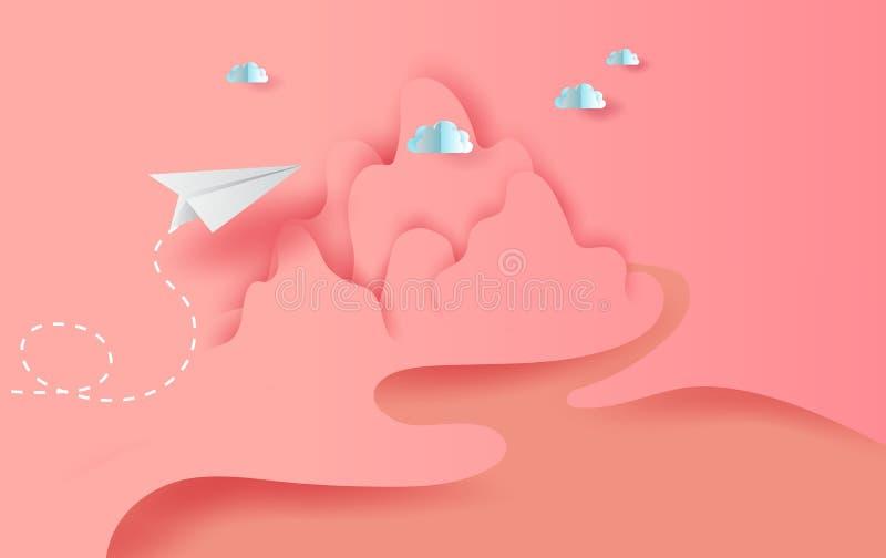 arte della carta 3D e mestiere degli aeroplani di Libro Bianco del paesaggio che volano sul cielo e sulle nuvole, aeroplani creat illustrazione di stock
