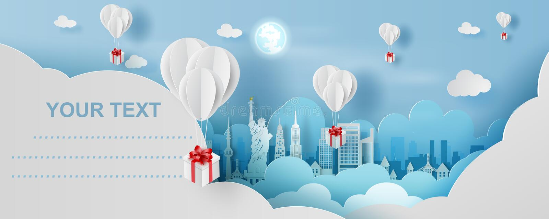 arte della carta 3D e stile del mestiere di galleggiamento bianco del pallone e del contenitore di regalo sopra nel cielo blu del royalty illustrazione gratis