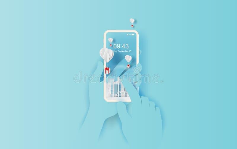 arte della carta 3D e stile del mestiere di galleggiamento bianco del pallone online di acquisto dello smartphone e del contenito illustrazione vettoriale