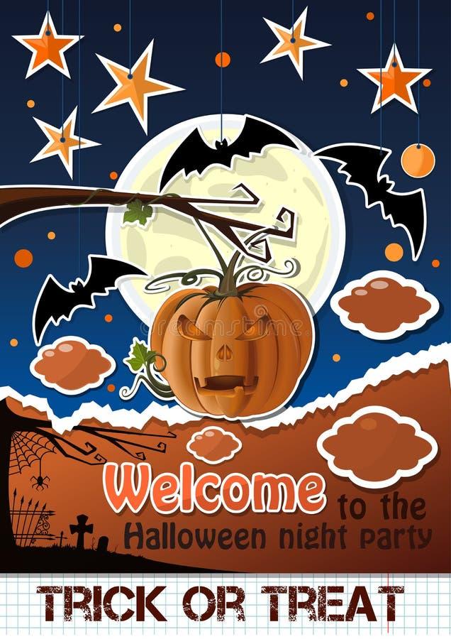 Arte della carta di Halloween Benvenuto al partito di notte royalty illustrazione gratis