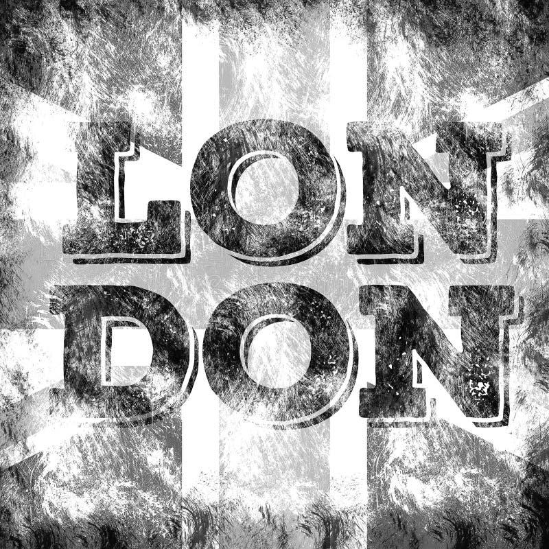 Arte della città di Londra Stile del grafico della via dell'Inghilterra Stampa alla moda di modo Abito del modello, carta, etiche illustrazione di stock