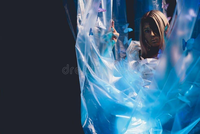 Arte della farfalla della ragazza fotografia stock libera da diritti