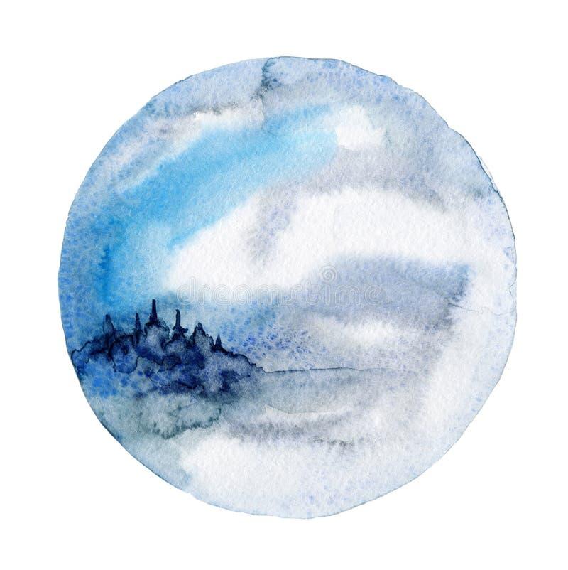 Arte della parete dell'acquerello, paesaggio di inverno illustrazione vettoriale
