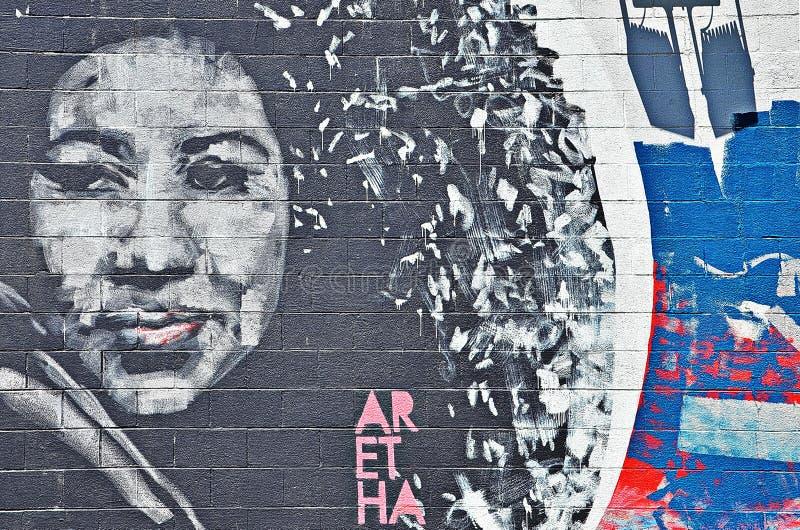 Arte della parete su Livernois a Detroit fotografie stock libere da diritti