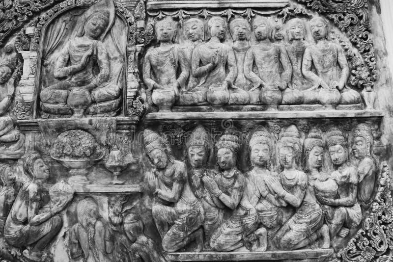 Arte della parete in Tailandia in bianco e nero immagine stock libera da diritti