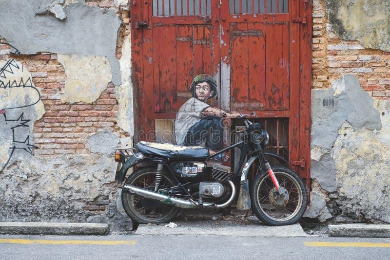 Arte della parete della via di Penang fotografie stock