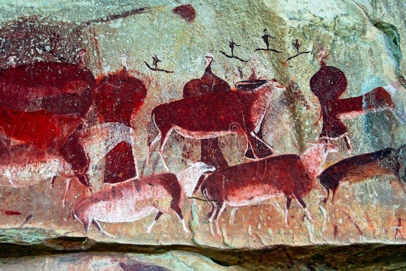 Arte della roccia del boscimano fotografia stock libera da diritti